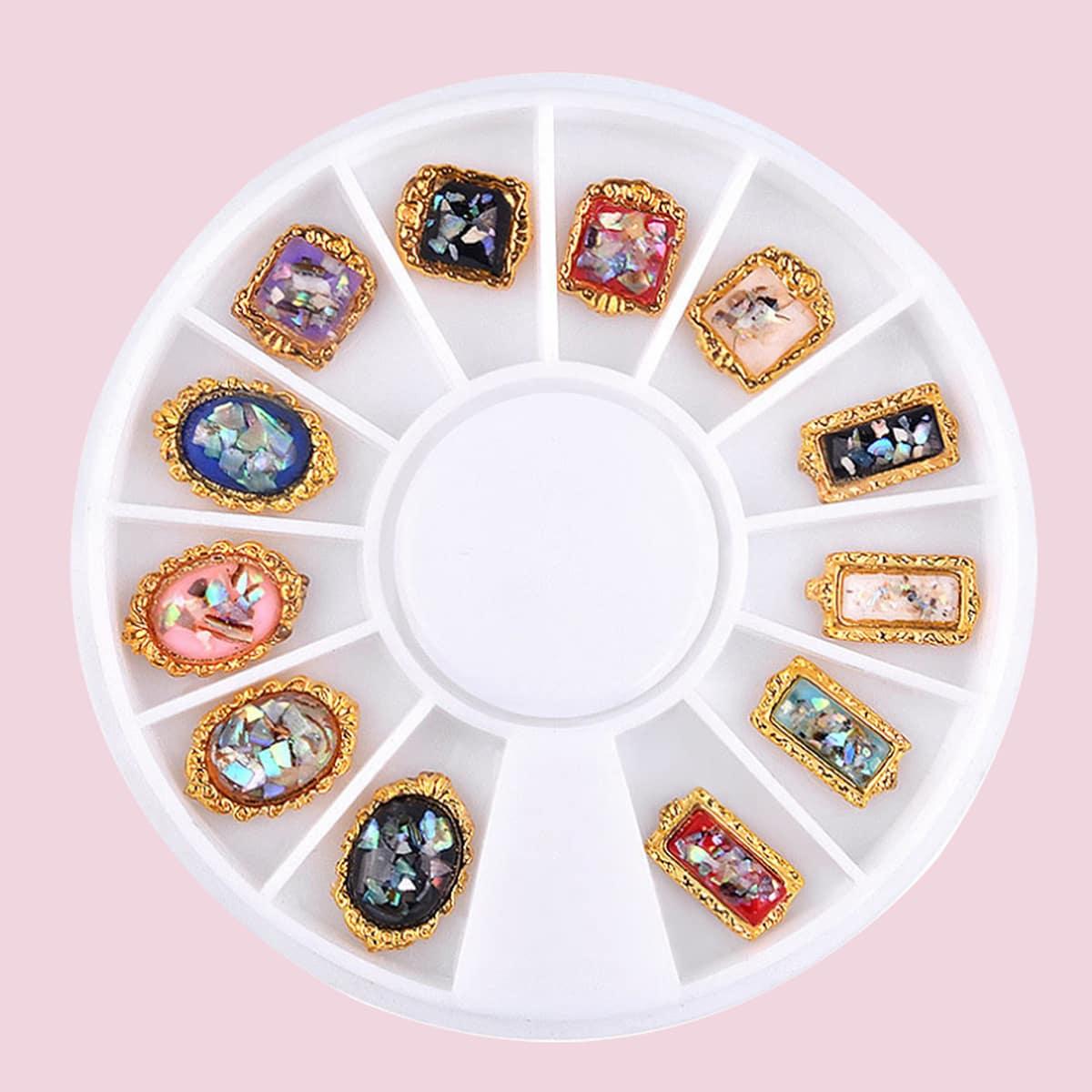 1 коробка украшение для ногтей со стразами по цене 140