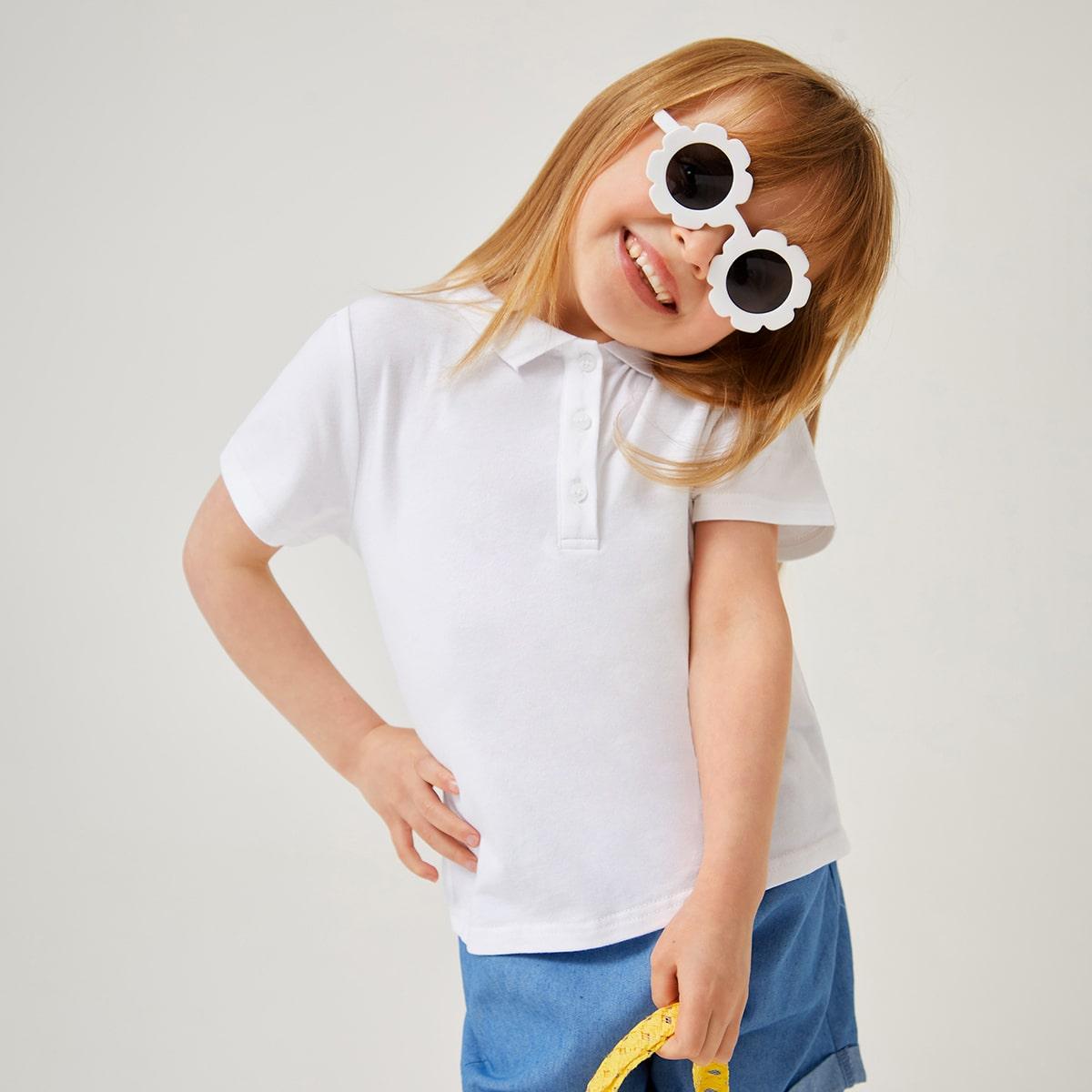 Toddler Girls Button Half Placket Tee