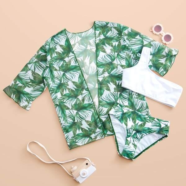 3pack Girls Plant Print One Shoulder Bikini Swimsuit & Kimono, Multicolor