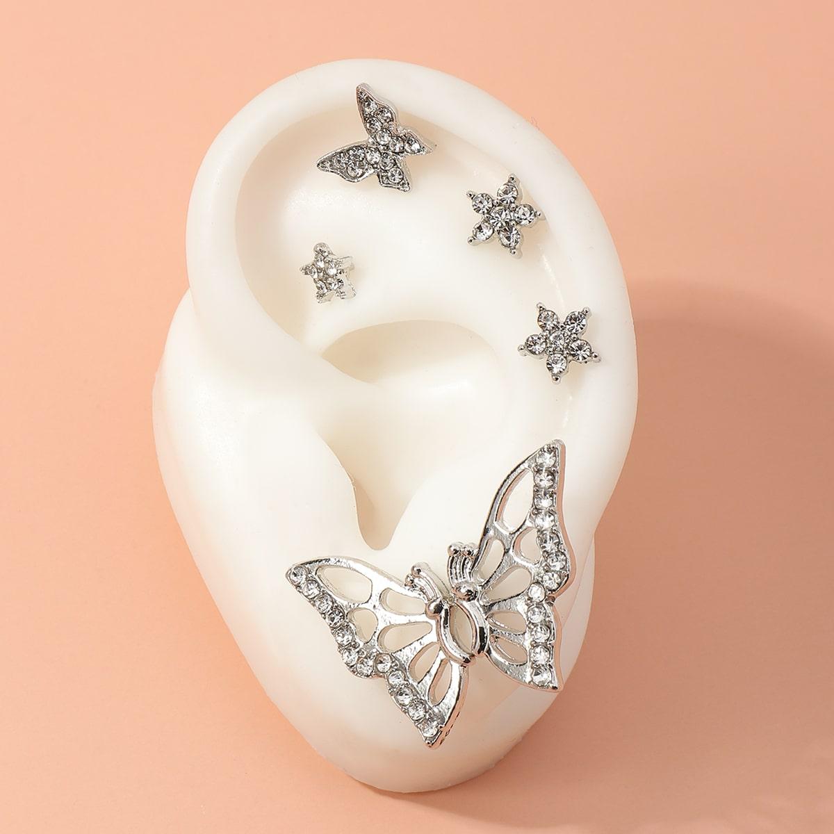 6шт серьги в форме бабочки со стразами по цене 110