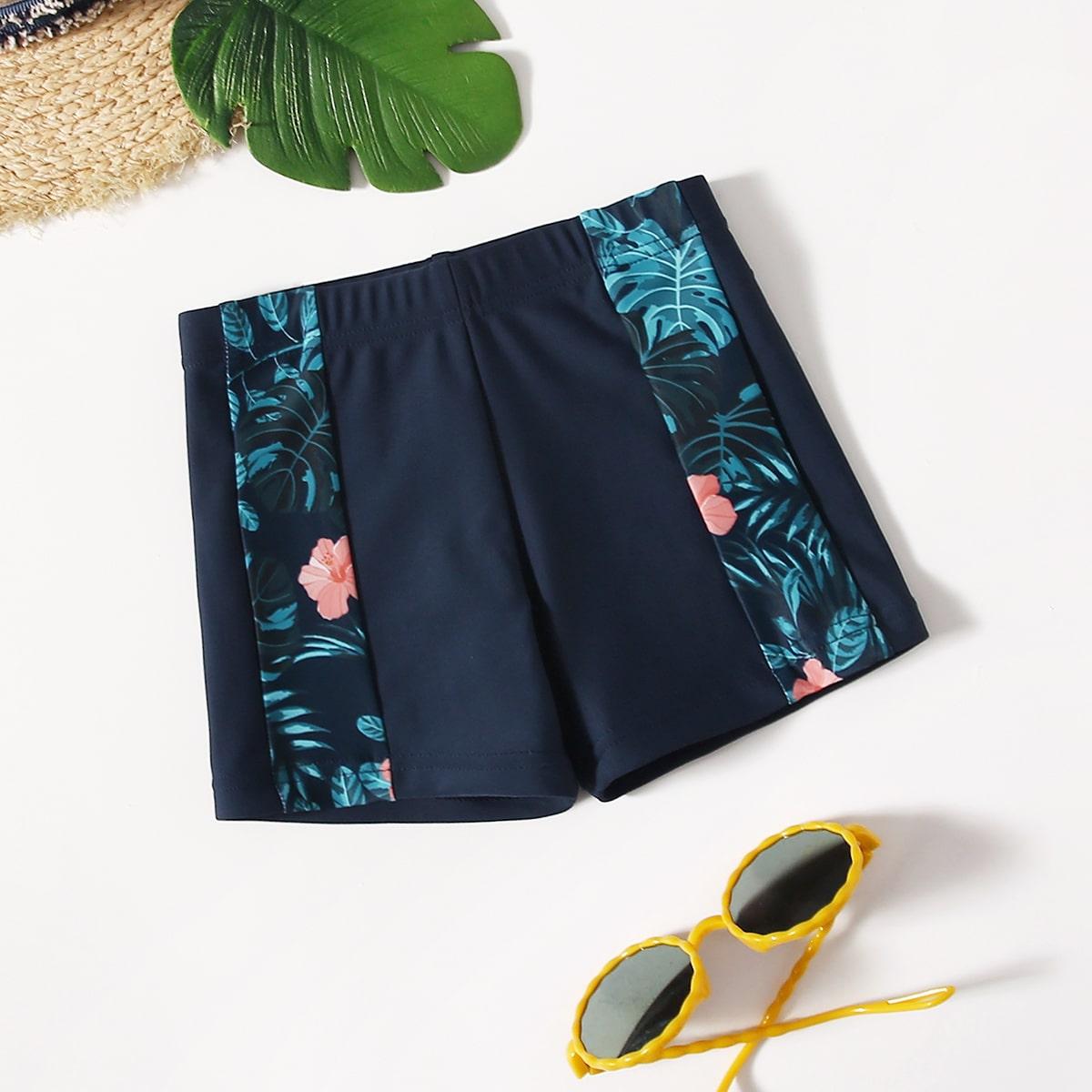 Плавательные шорты с тропическим принтом для мальчиков