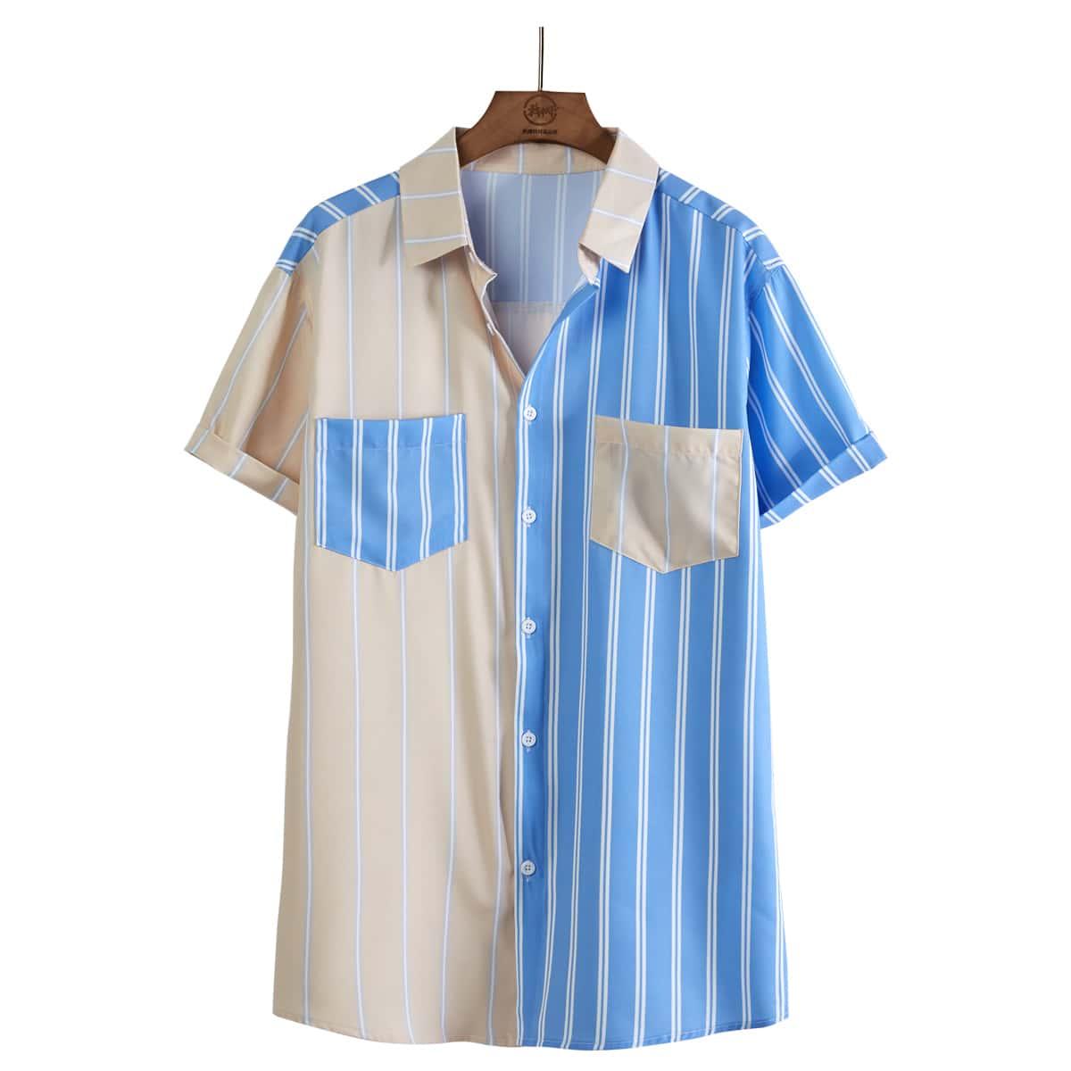 Мужская контрастная рубашка в полоску на пуговицах