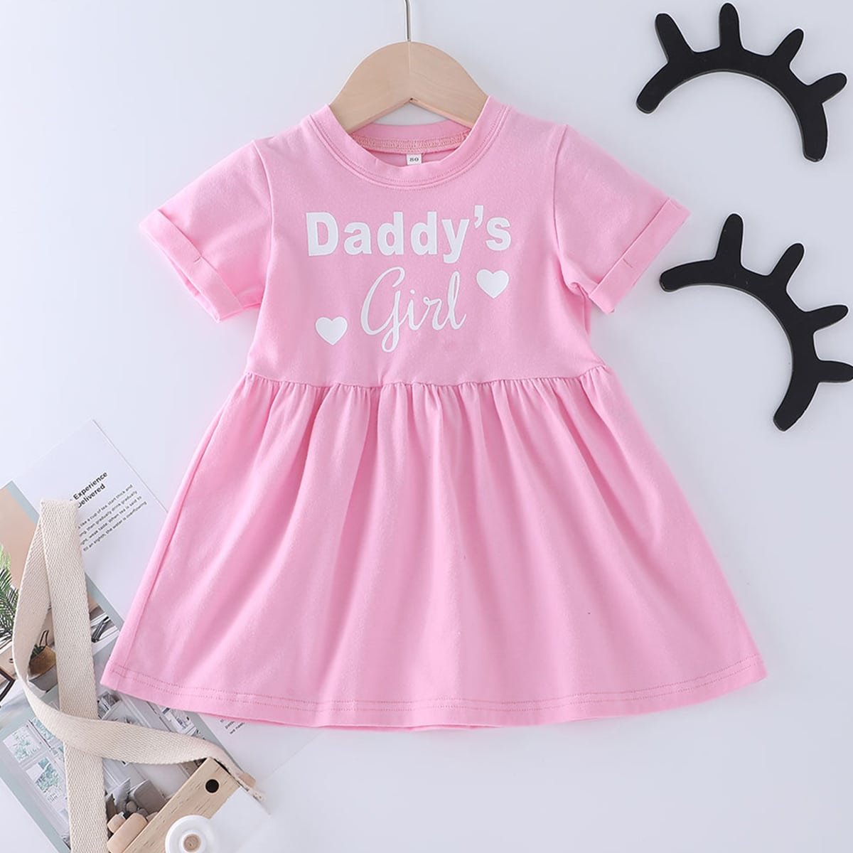 Baby Girl Letter & Heart Print Smock Dress, SHEIN  - buy with discount