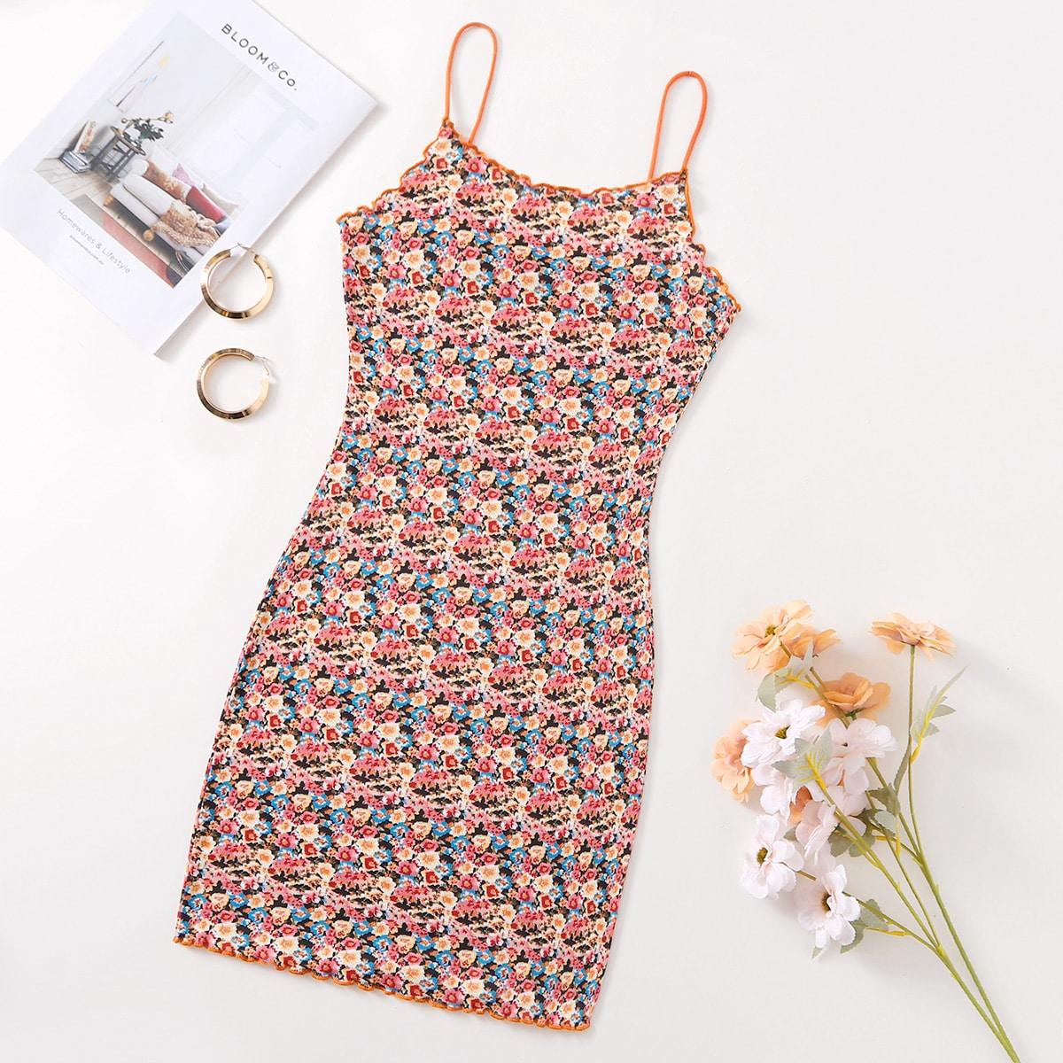 Волнистый край цветочный Бохо Платье по цене 420
