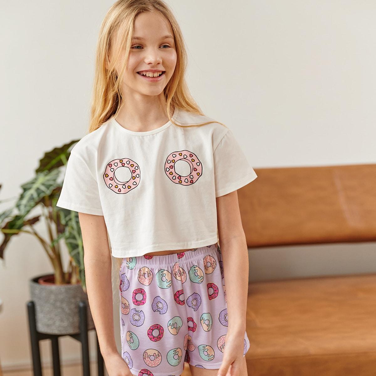 графический принт милый Домашняя одежда для девочек