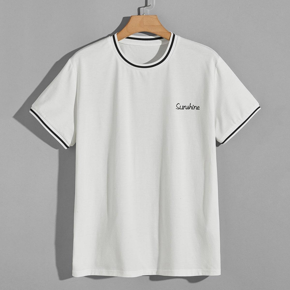 T-shirt avec motif lettre et rayures