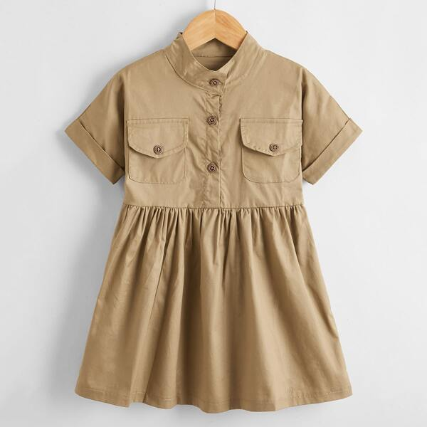 Toddler Girls Half Button Shirt Dress, Khaki