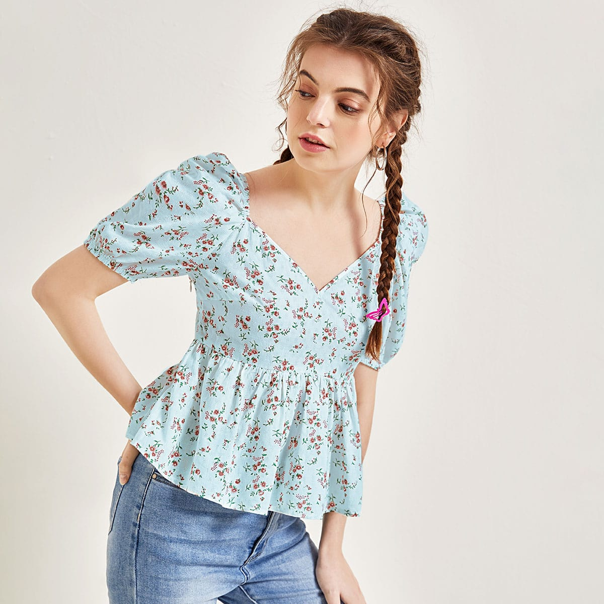 Sweetheart Neck Ditsy Floral Peplum Top
