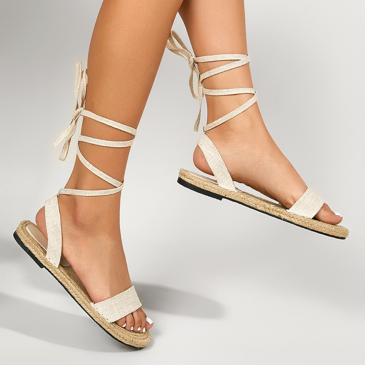 Tie Leg Linen Sandals