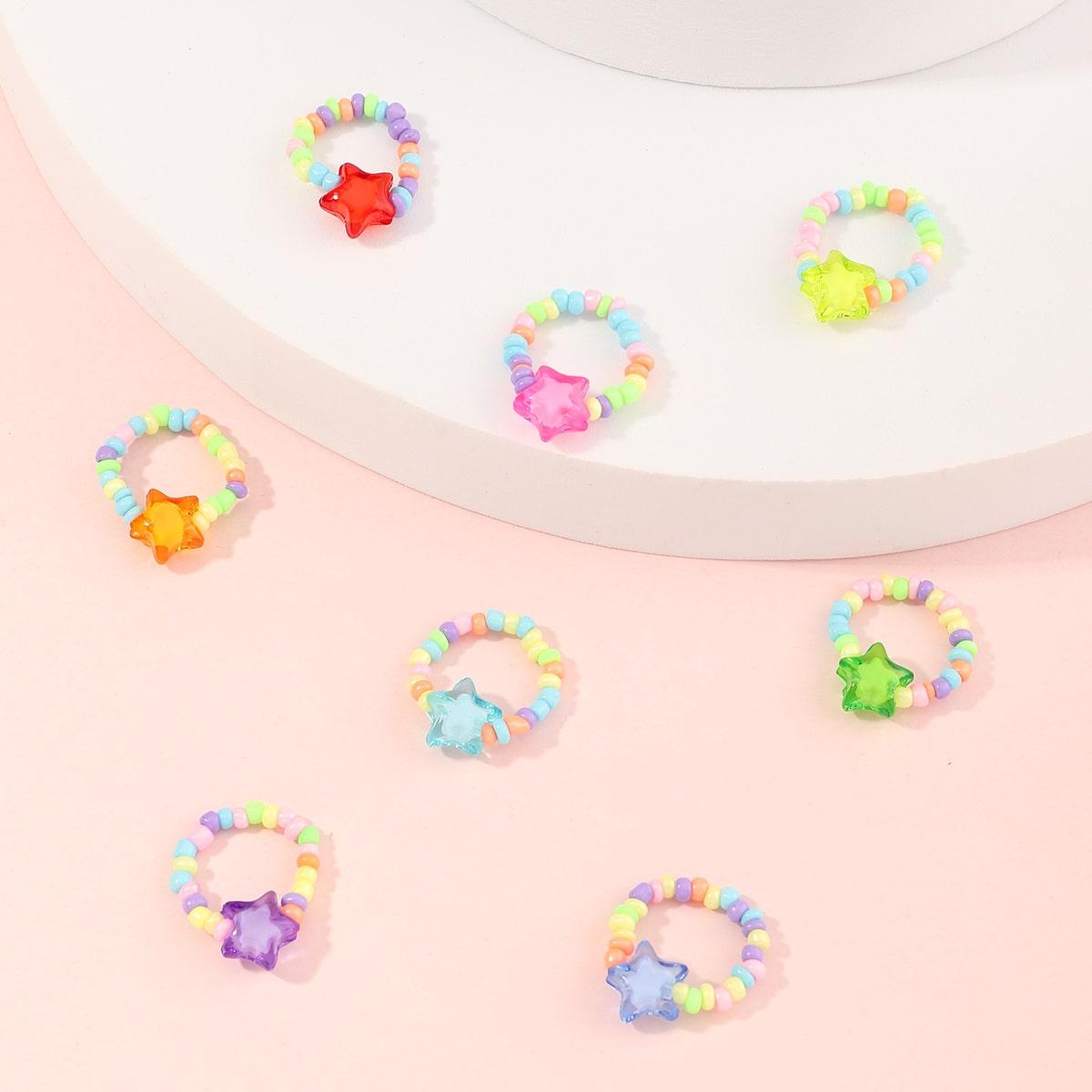 8 pezzi cnello con perline con decorazioni a stella