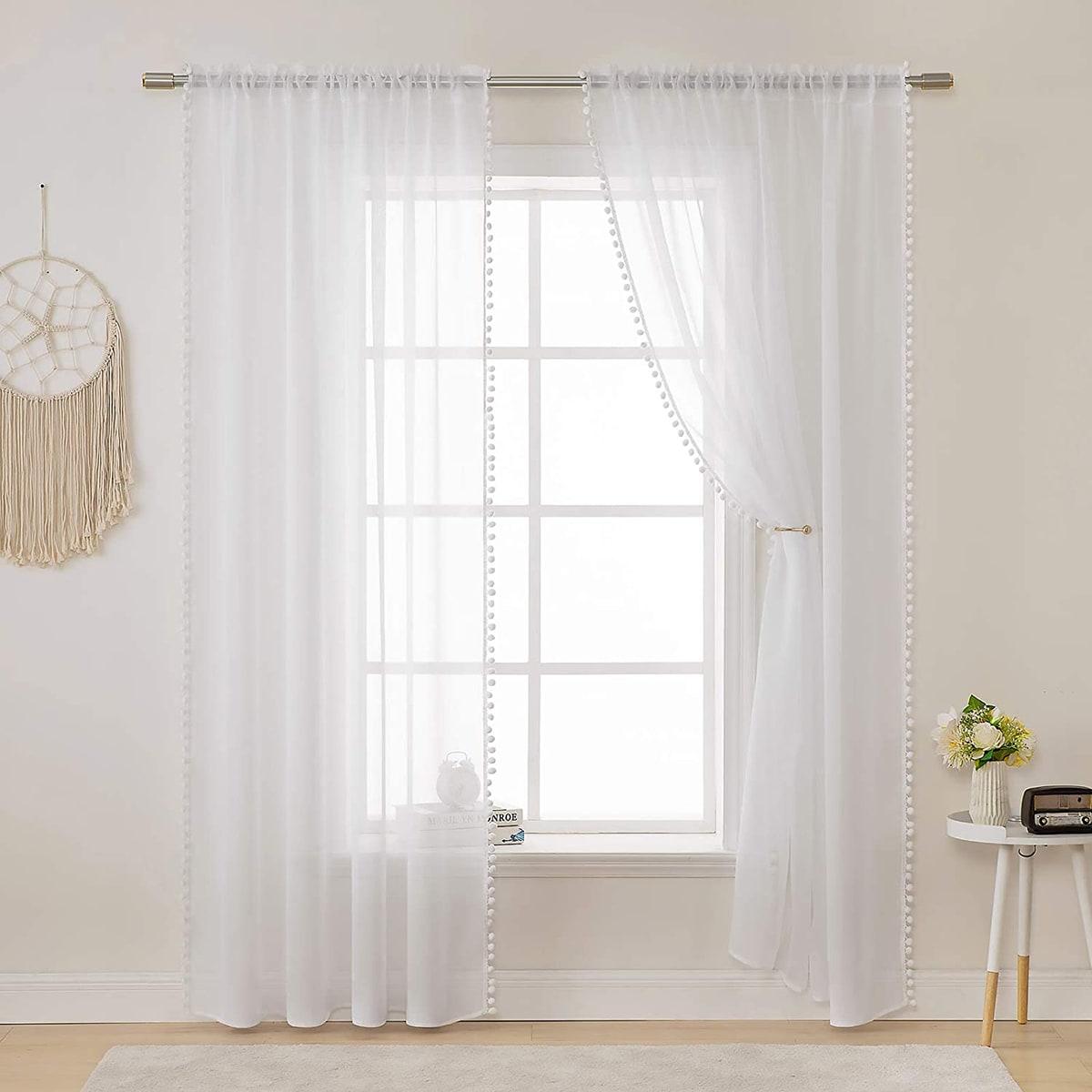 1 Schal Vorhang mit Pompon Dekor