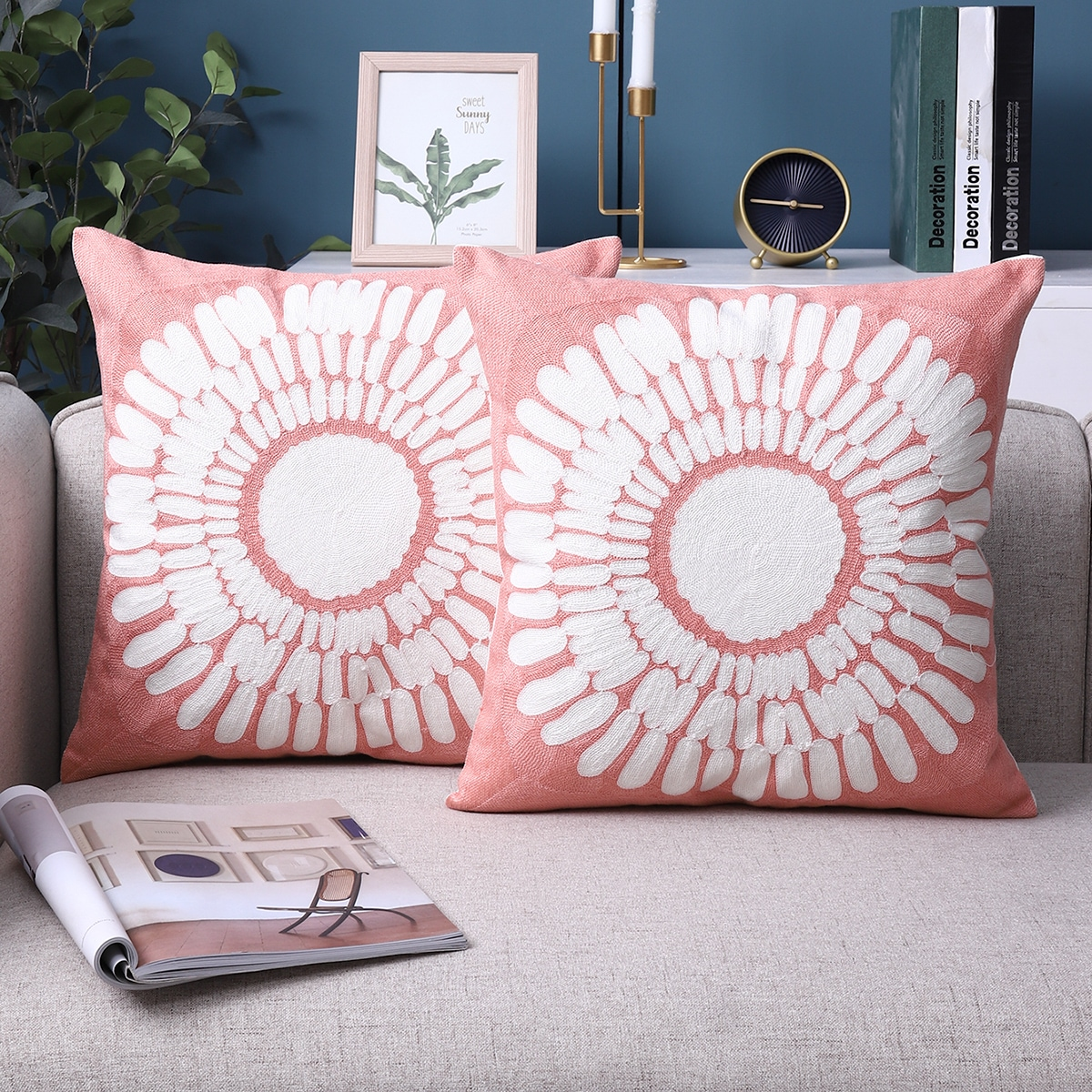 1pc Flower Embroidery Cushion Cover Without Filler, SHEIN  - buy with discount