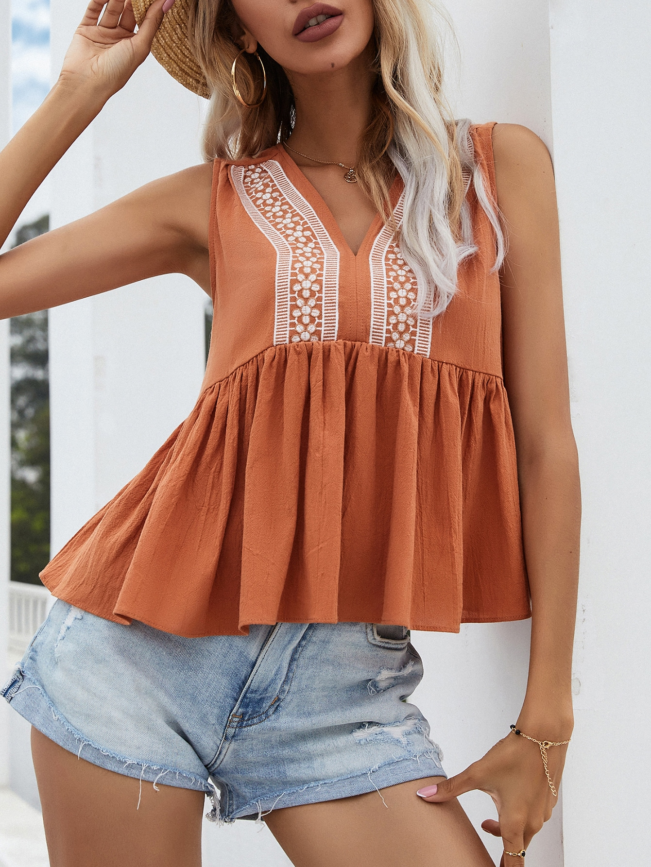 floral embroidery ruffle hem blouse
