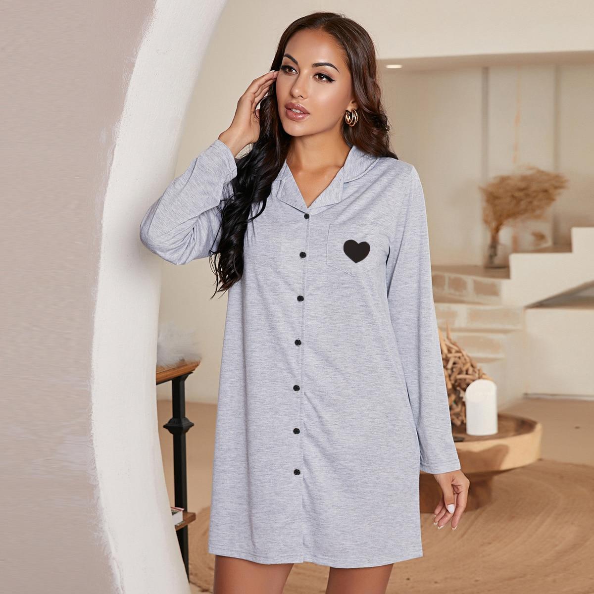 Ночная рубашка с принтом сердечка