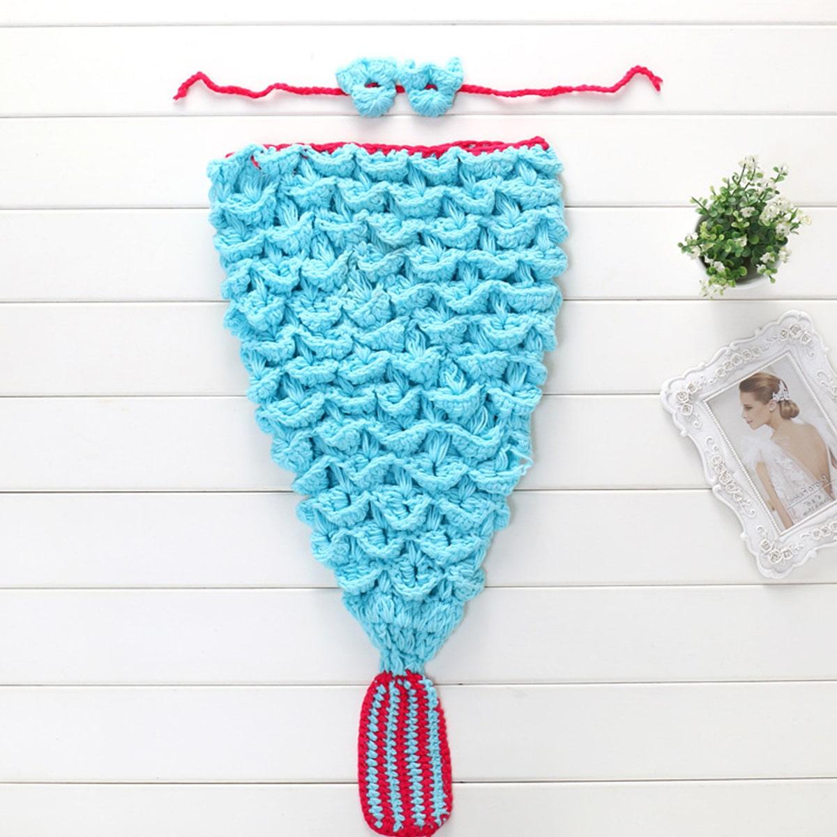 Newborn Girl 2pcs Knitted Mermaid Photography Prop