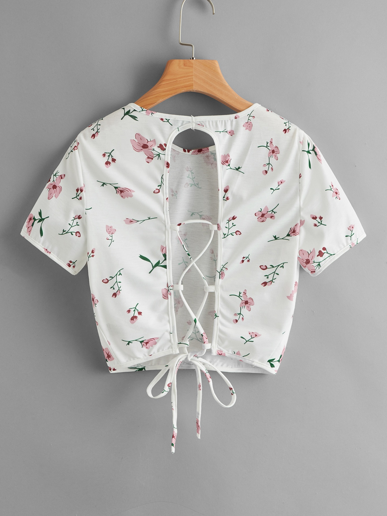 Floral Cut Out Lace Up Back Tee