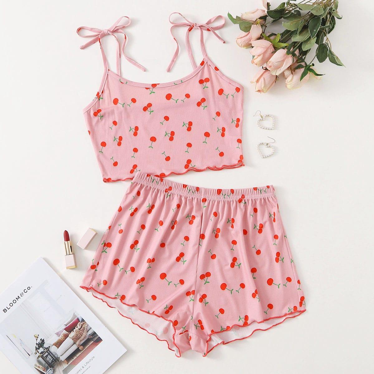 SHEIN / Cherry Print Knot-straps Pajama Set