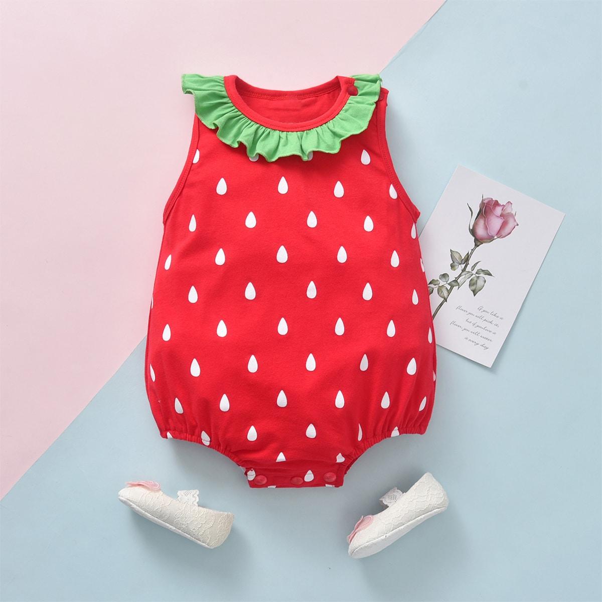 с оборками Контрастный цвет Боди для малышей