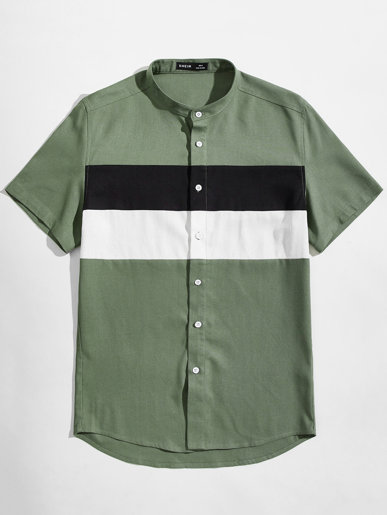 men mock-neck colorblock shirt