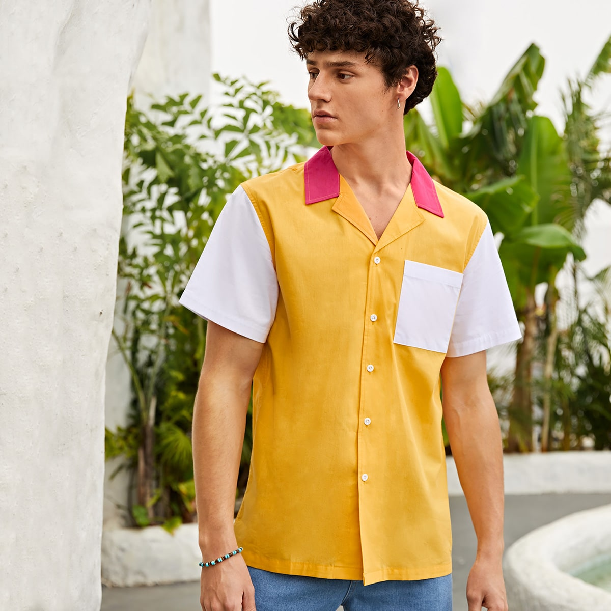 Men Cut And Sew Lapel Neck Shirt, SHEIN  - buy with discount