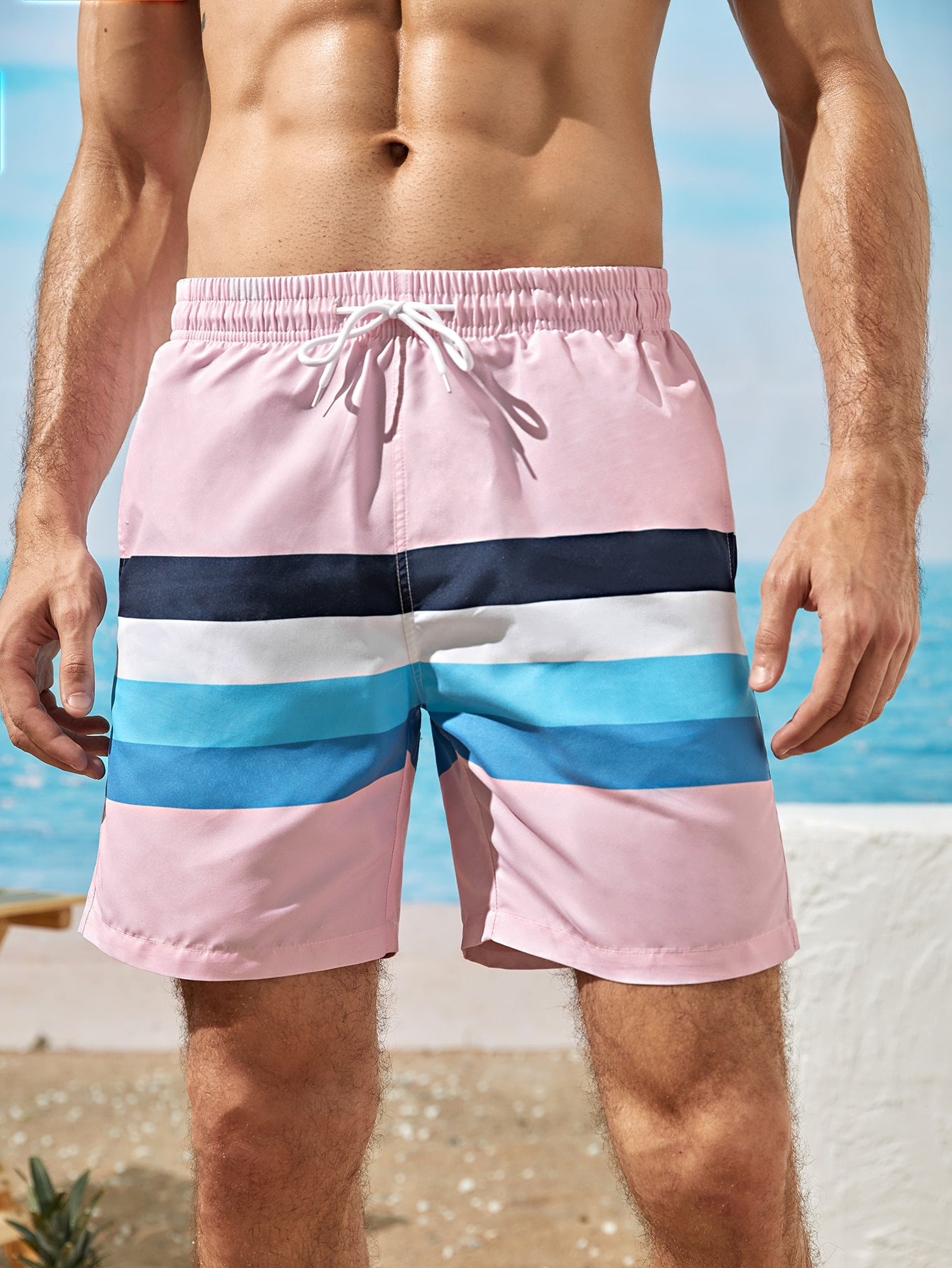 men striped drawstring waist swim trunks