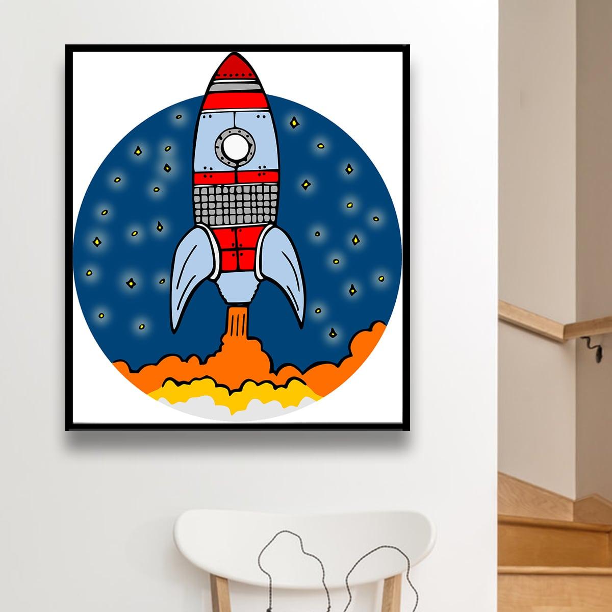 Алмазная живопись с узором ракеты без рамки