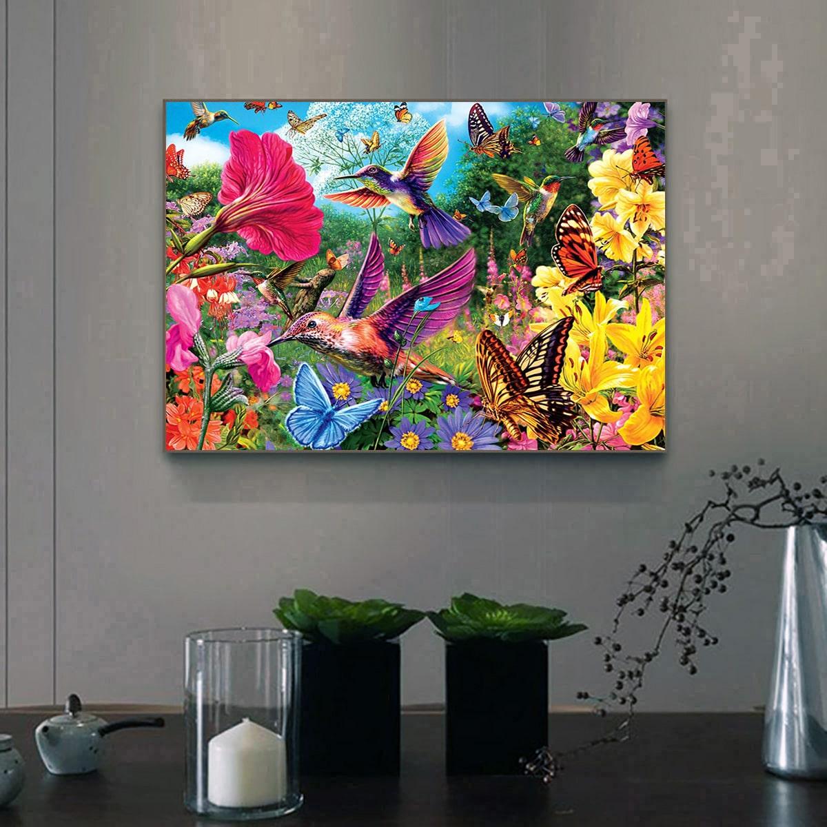 Алмазная живопись с узором цветка и птицы без рамки