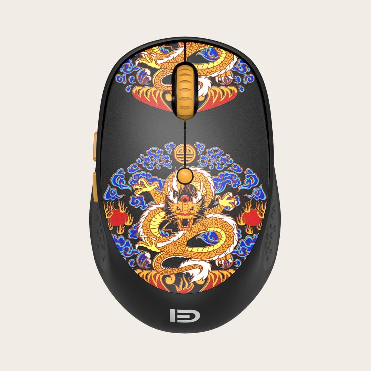 Drahtlose Maus mit chinesischem Drachen Muster