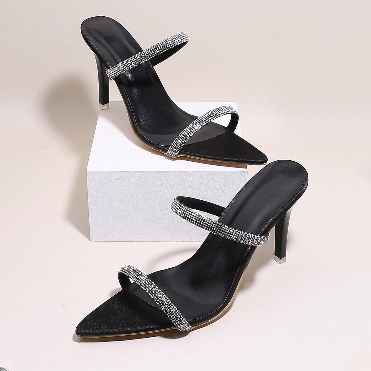 Sandales mules à talon aiguille avec strass