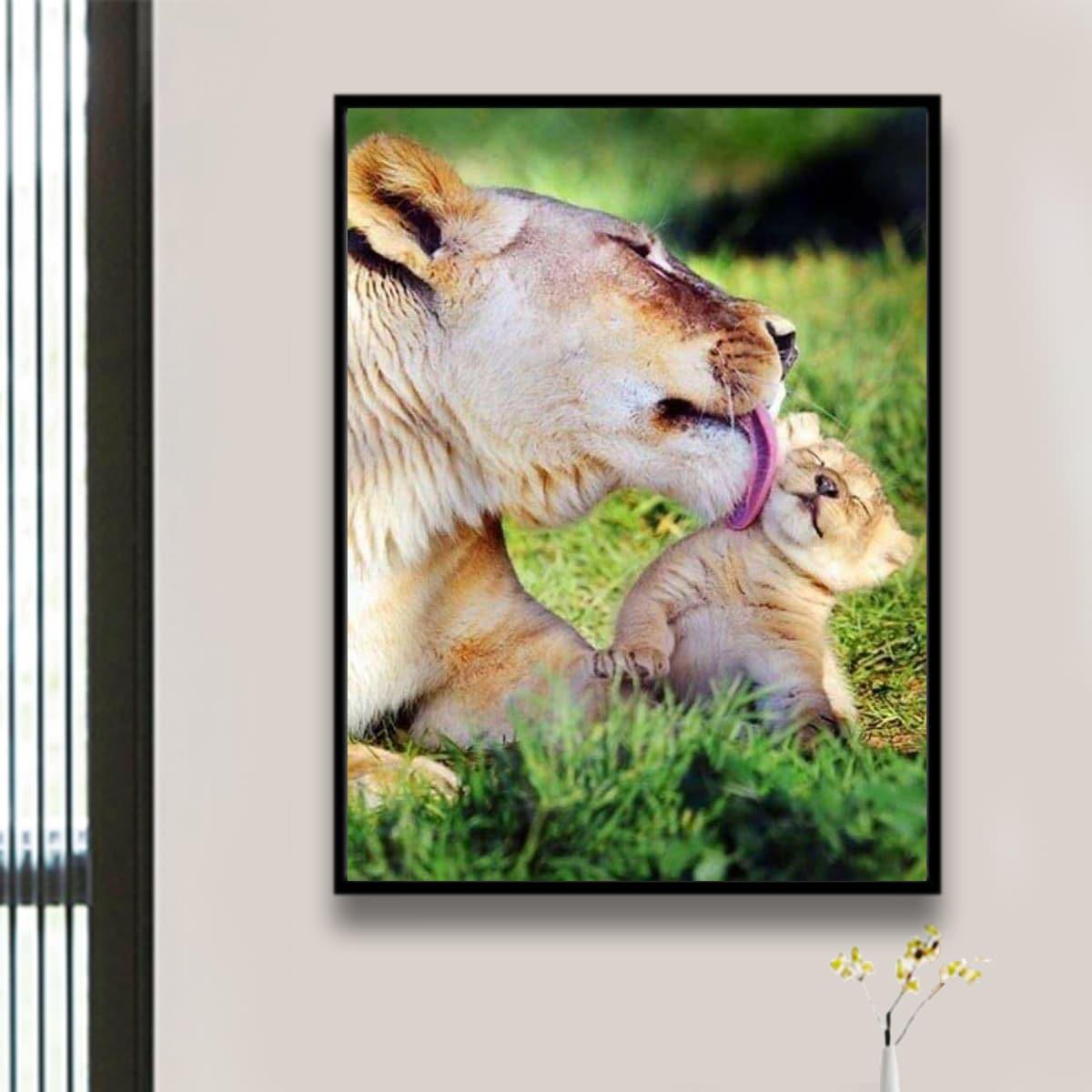DIY алмазная живопись с принтом льва без рамки