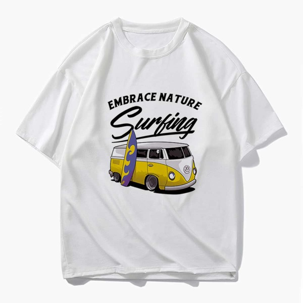 Men Letter And Car Print Tee, White
