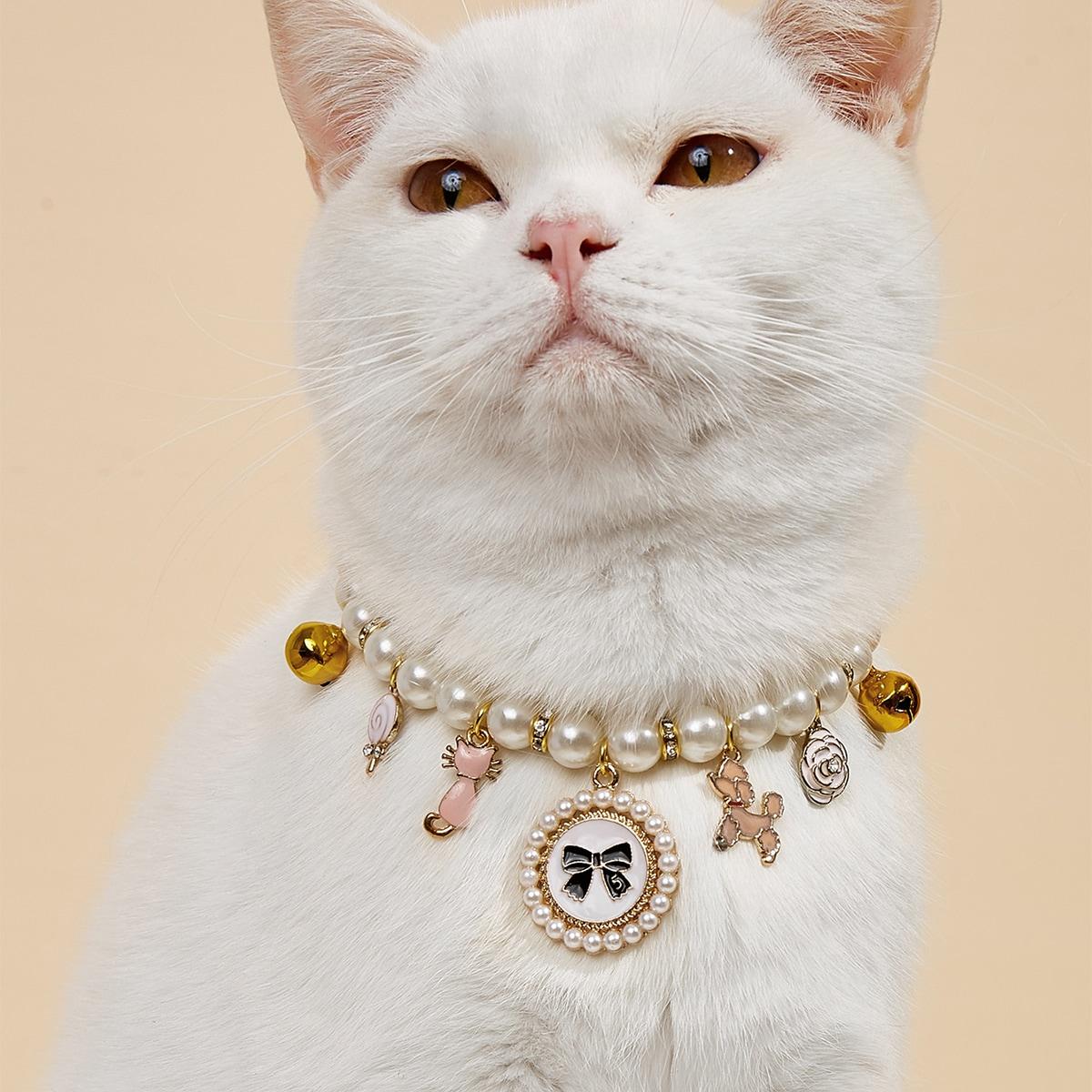 Collana per animale domestico pendenti di perle