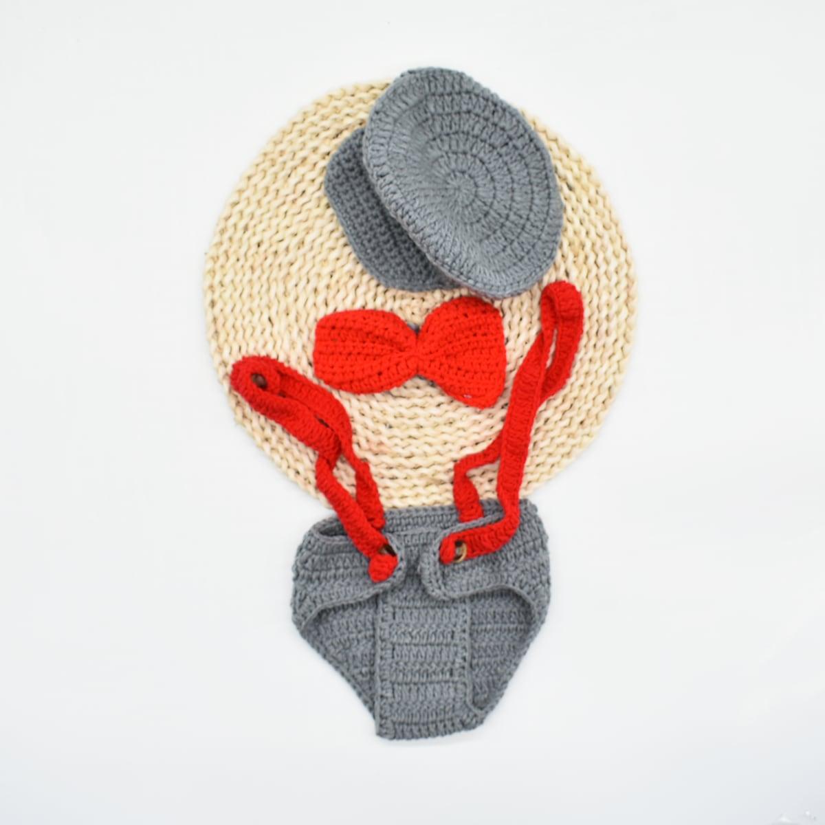 Newborn Boy Straps Knit Shorts & Headband & Hat Photography Prop