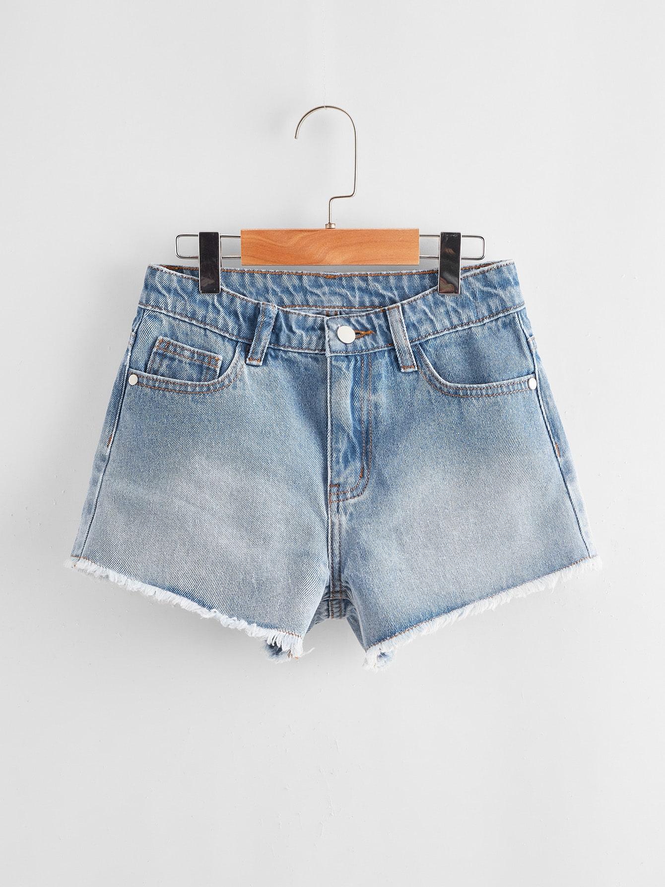Girls Raw Hem Denim Shorts