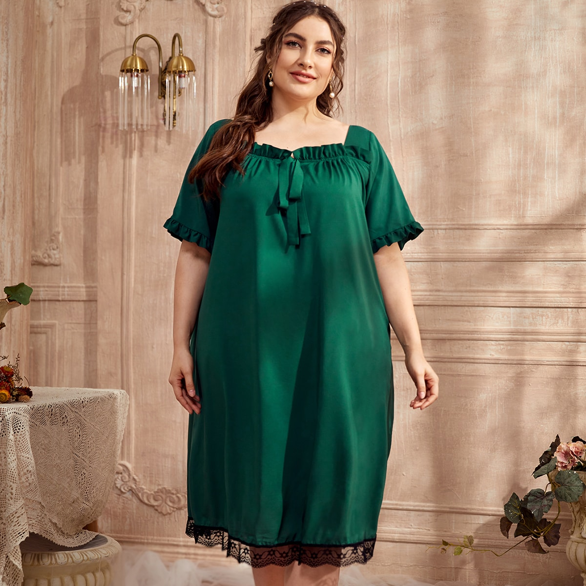 Plus Frill Trim Knot Front Contrast Lace Nightdress