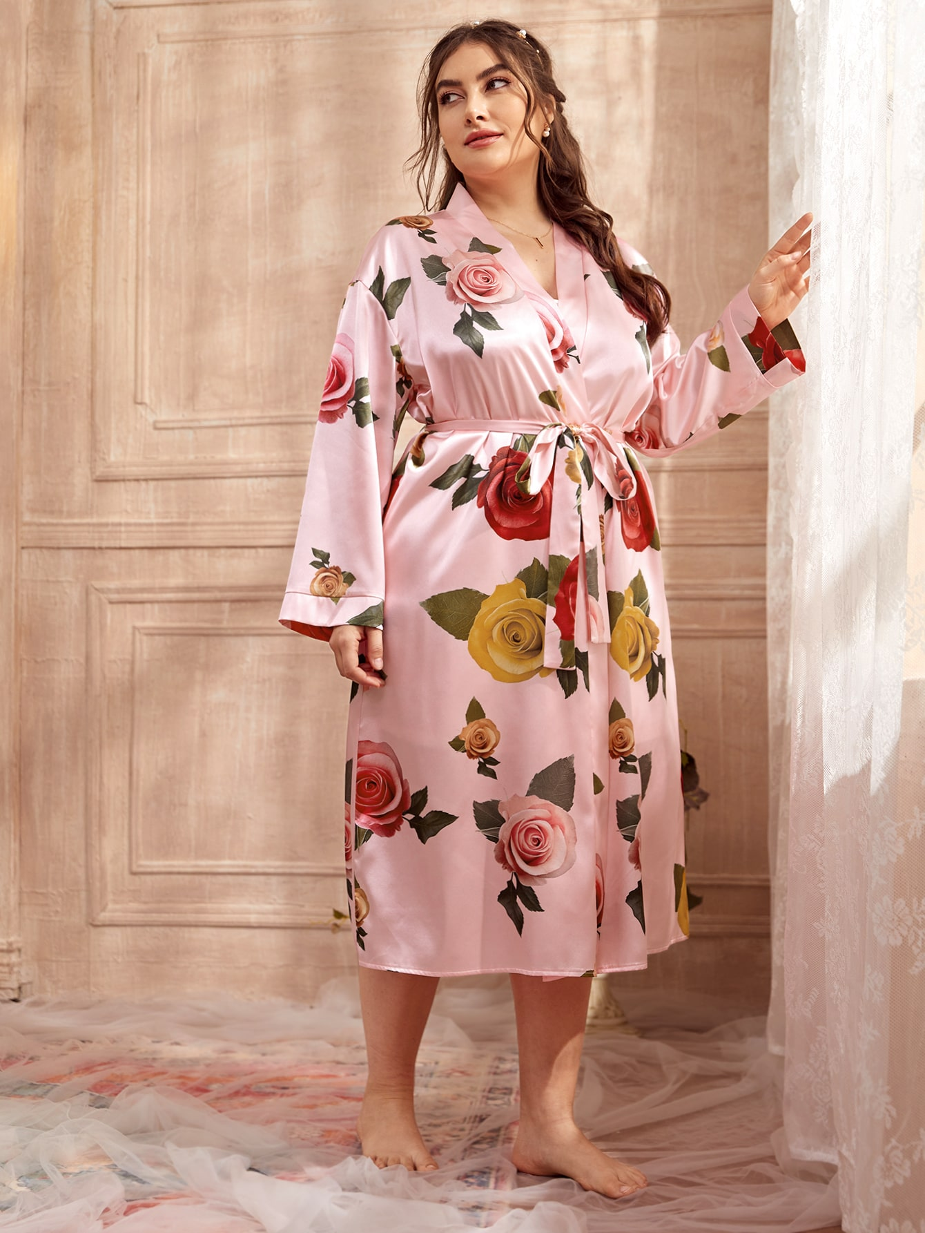 Plus Satin Floral Belted Robe