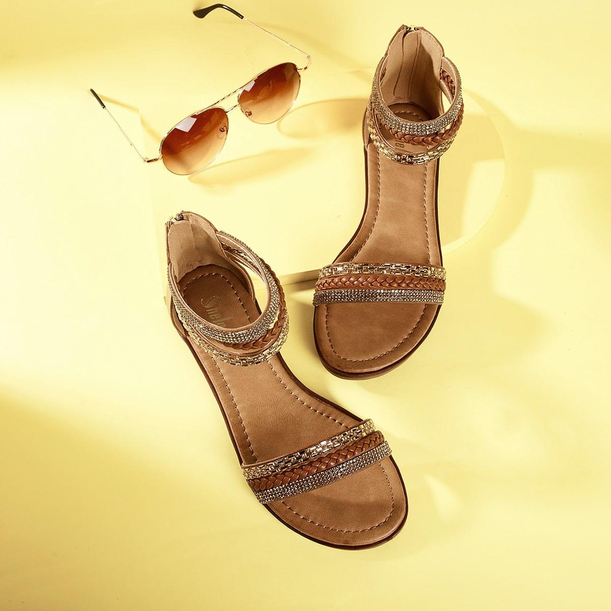 Sandales design tressé avec strass