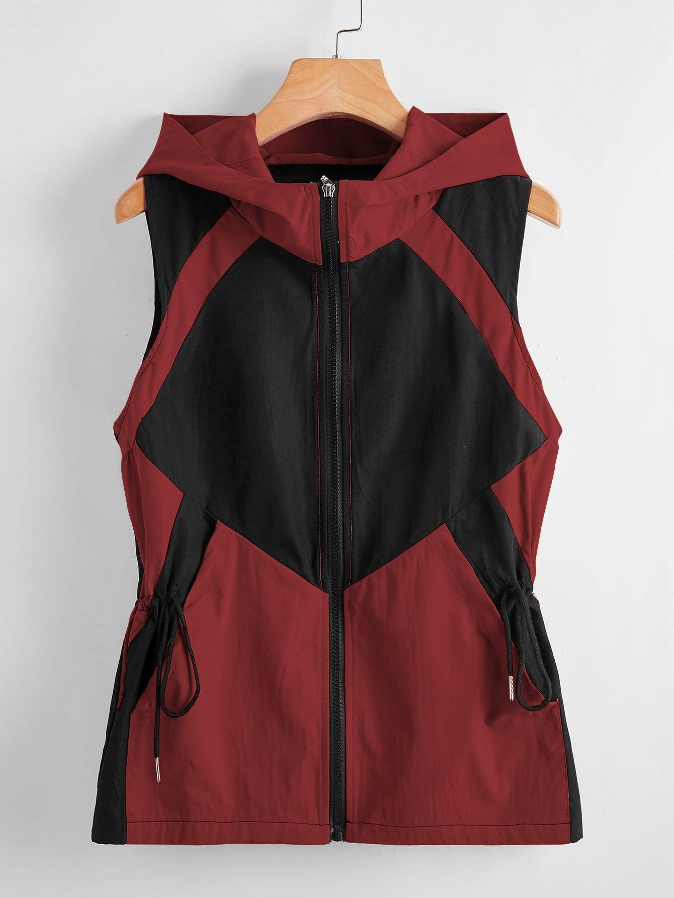 drawstring zip up hooded sleeveless jacket