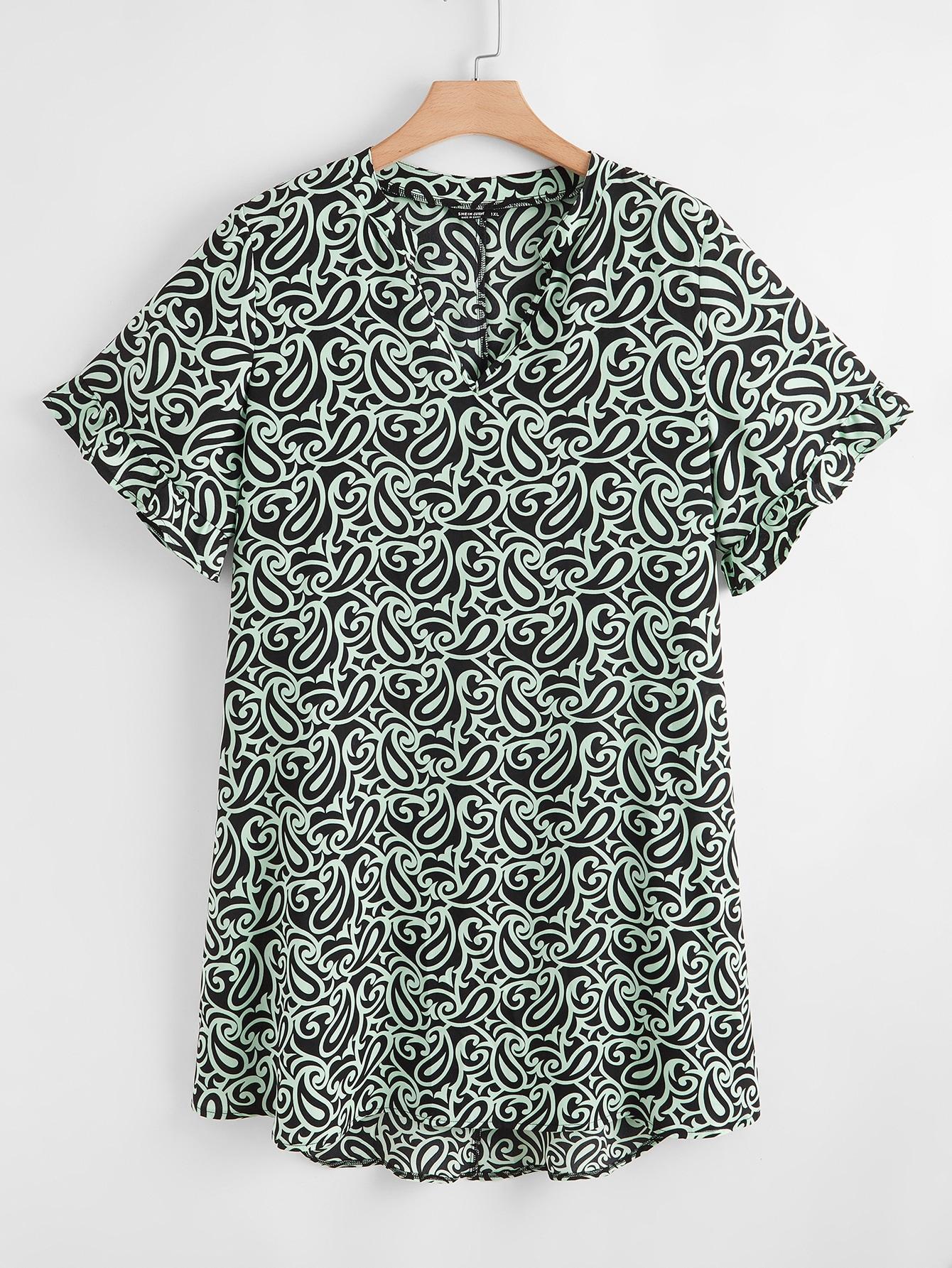 plus notched paisley print tunic dress