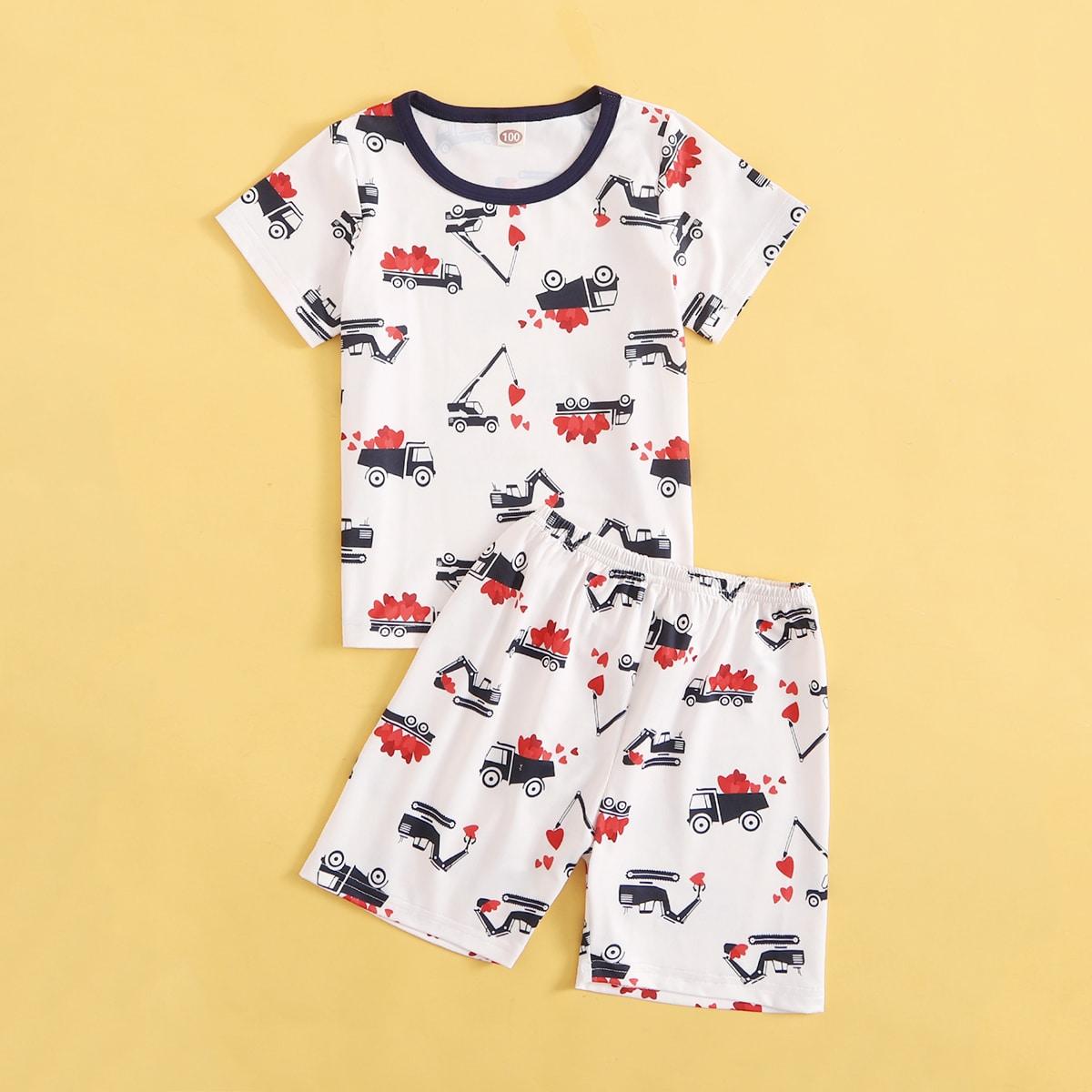 Пижама с принтом сердечка и машины для мальчиков
