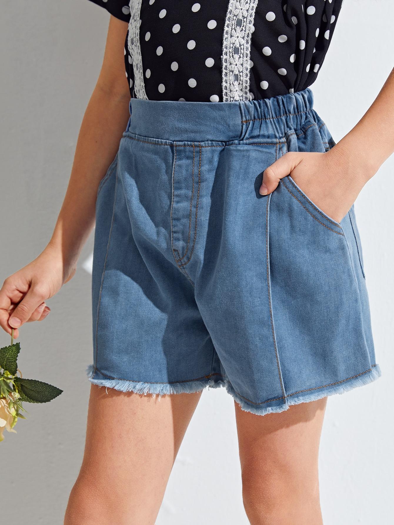 Girls Raw Hem Elastic Waist Denim Shorts