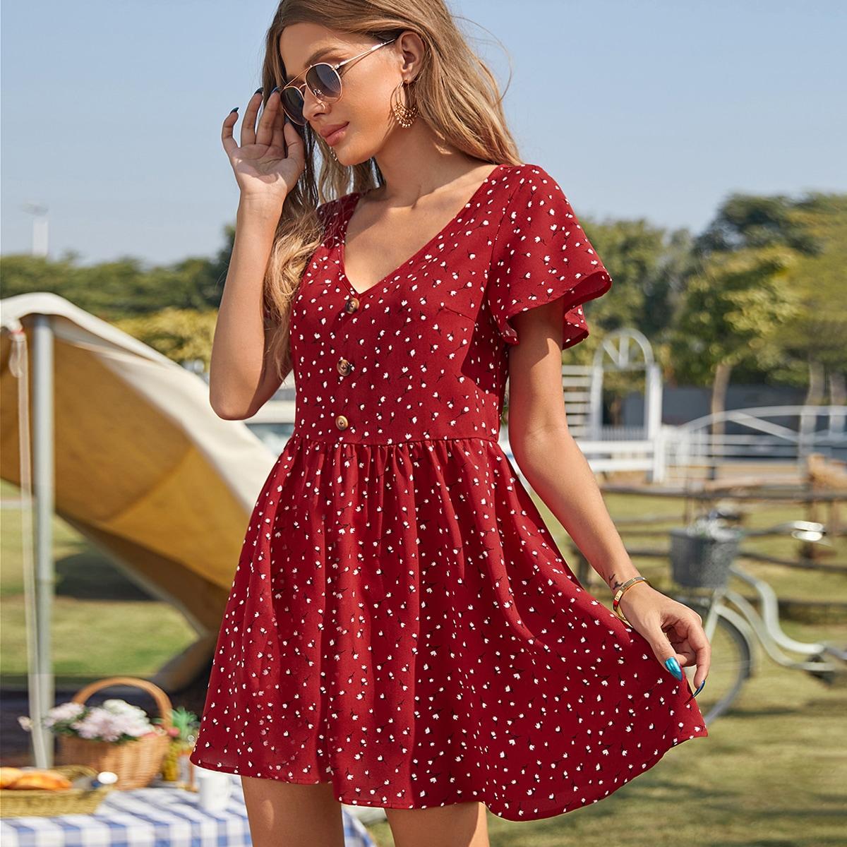 Пуговица цветочный Повседневный Платье по цене 592