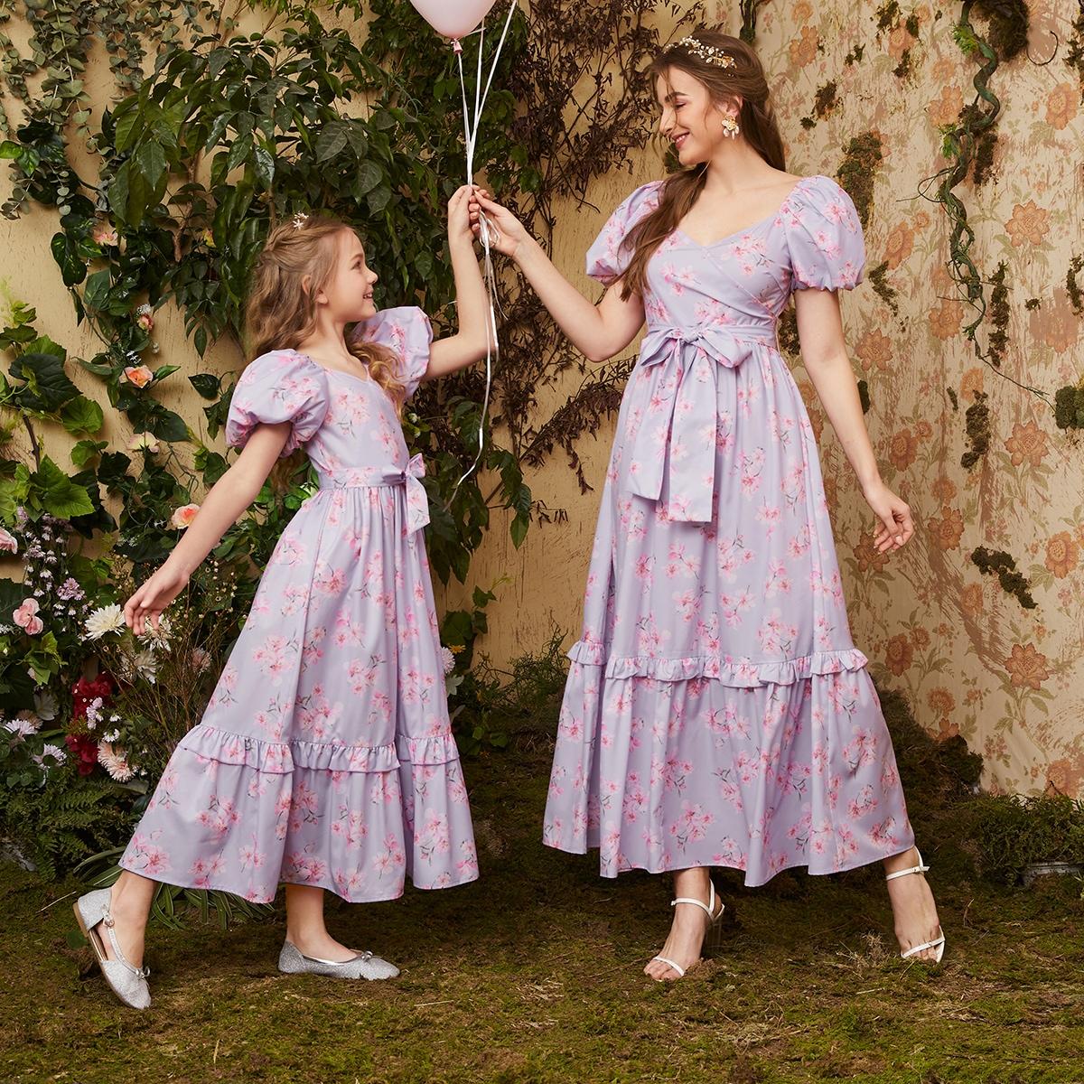 Mädchen 1 Stück Kleid mit Puffärmeln, Selbstgürtel und Blumen Muster