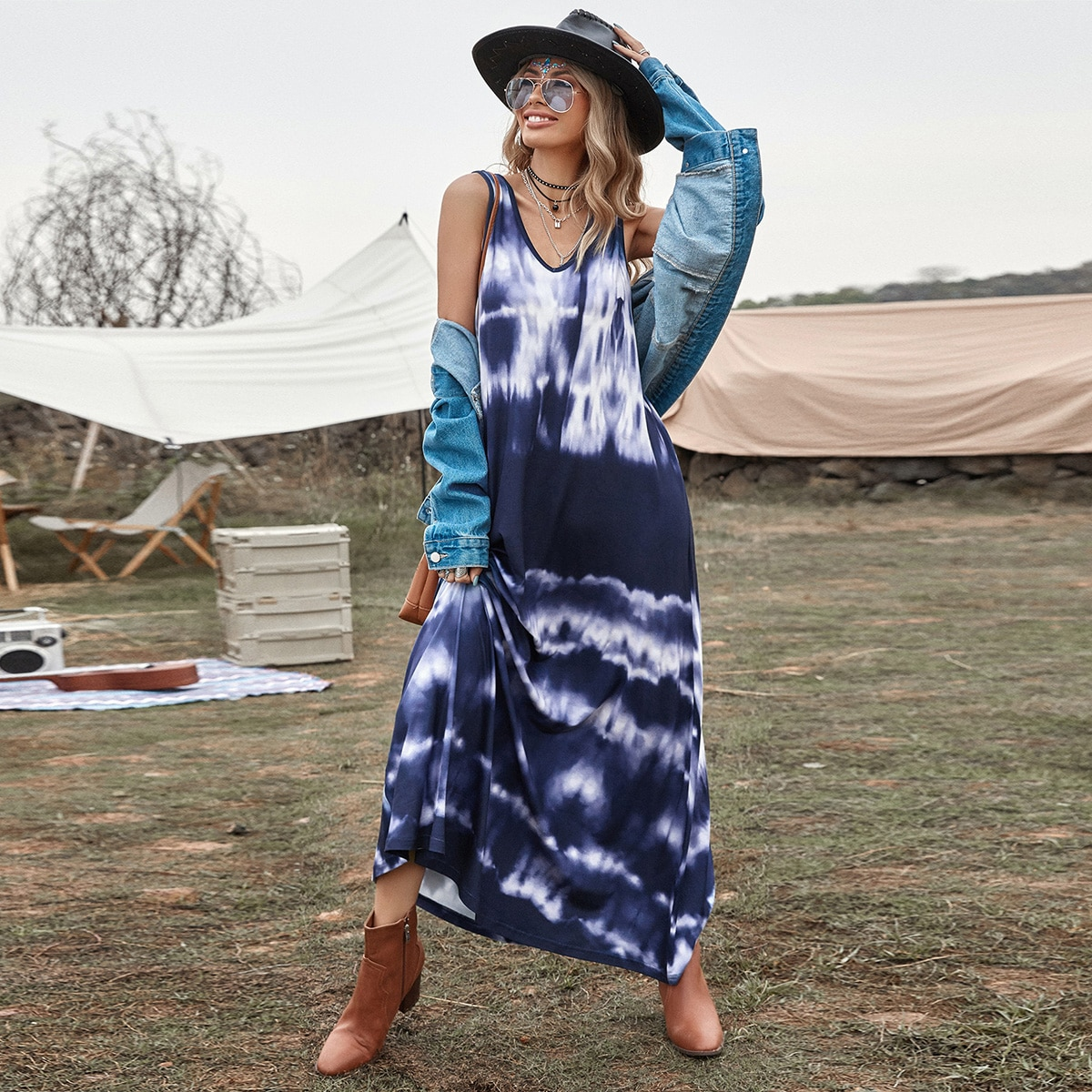 Tie Dye V-Neck Tank Dress