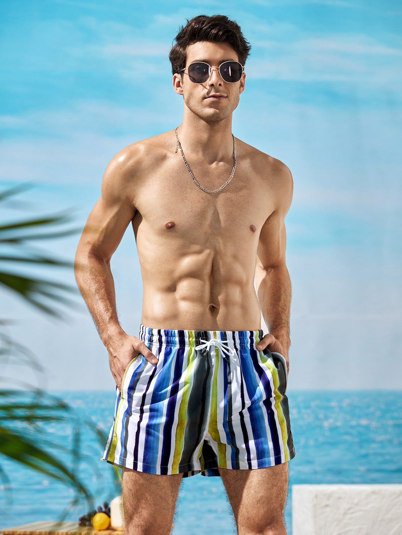 men vertical striped drawstring swim trunks