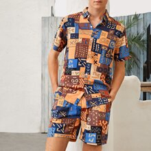 Guys All Over Print Top & Shorts Set