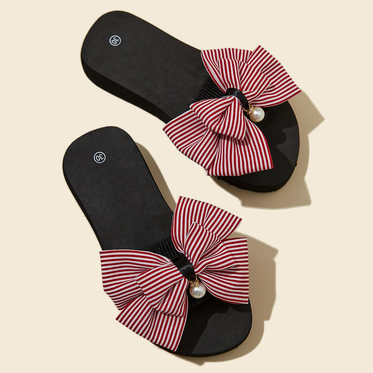 SHEIN / Toddle Girls Striped Bow Decor Slippers
