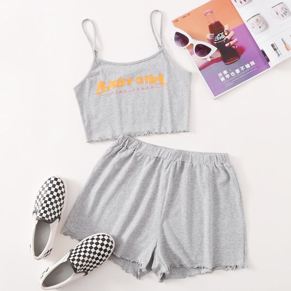 Letter Graphic Lettuce Edge Cami Top and Shorts Set, Light grey