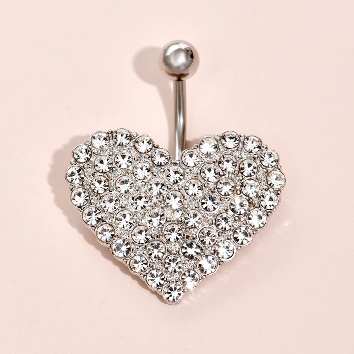 1 pieza barra de ombligo con corazón con diamante de imitación