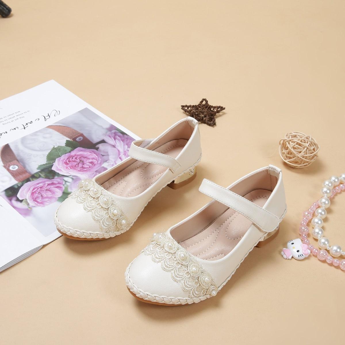 Fille Chaussures plates avec fausses perles et bande velcro